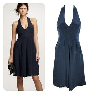 J CREW | Deep Teal Silk Allegra Halter Dress 6